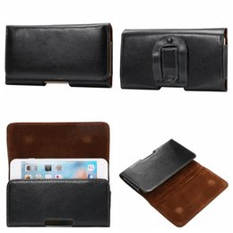 Wholesale Genuine Blackberry Phones - Genuine Real Leather Hip Holster Horizontal Clip Case For Iphone 7 6 6S SE For Huawei P9 P8Galaxy S7Buckle Belt Phone Protective Coat Pouch