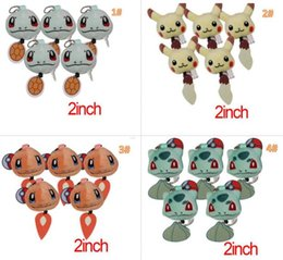 Wholesale Squirt Toys - New Cartoon Poke Plush Toys Keychains POKE Go Stuffed Animals 5cm 2inch Pikachu Charmander Squirt Strap Keychain Children Best Gift 4 styles