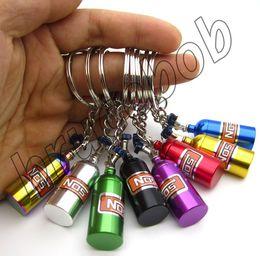 2019 auto fernschlüssel gehäuse Kreative Auto Modifikation NOS Flasche Keychain Metall Schlüsselanhänger Ring Pill Box Storage Keychains Freies Verschiffen