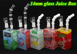 Wholesale cereal boxes - New Design Liquid Glass Juice Box Water Pipes Bongs Sci Glass Dab Oil Rig Tall Cereal Box Concentrate Rigs Glass Hookahs