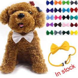 Wholesale Dog Bandanas Collars - 2017 Adjustable Pet Dog Bow Tie Neck Accessory Necklace Collar Puppy Bright Color Pet Bow Mix Color XL-G228