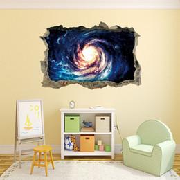 Calcomanías de pared negro para vivero online-Space Black Hole Vortex pegatinas de pared para las habitaciones de los niños guardería infantil calcomanías de los dormitorios se rompió 3d decoración del hogar extraíble