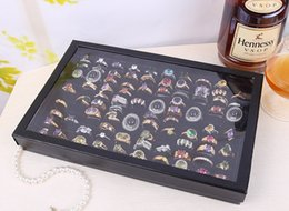 Wholesale jewelry ring stand clear - Black White Color Ring Tray with Clear Lid Cover 100 Hole Slots Tray for Rings Jewelry Display Stands Box Storage Show Case Organiser