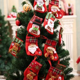 Wholesale Thin Feet - Christmas Reindeer Socks Santa Snowman Elk Christmas Stockings Cute Ornaments Festival Party Xmas Tree Hanging Decor OOA2835