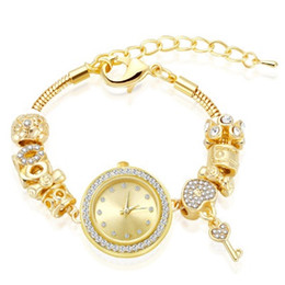 Wholesale Murano Glass Beads Gold - 18K Shiny Gold Plated Fit Pandora Bracelet Watch Murano Glass European Beads Charms Bracelets 27cm Snake Chain Gold Bracelets For Women