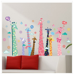 Wholesale Character Background - 60*90cm Giraffe Wall Stickers 2 pc living room sofa TV background PVC romantic decoration wall stickers wholesale DIY boy girl cartoon gift