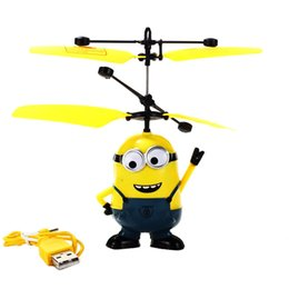 Wholesale Electronic Male Toys - 50PCS Lot 2016 Male&Female Despicable ME Flying Fly Minion Radio Sensor RC Helicopter Toys Gifts