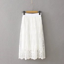 Wholesale Jupe Tutu Femme - Spring Tutu Skirt High-Waist White Lace Skirts Womens Saias Long Skirt Elastic Waist Summer Tutu Skirt Jupe Longue Femme C2931