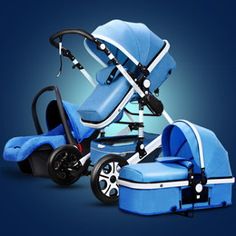Wholesale Pram Baby - Fashion Baby Stroller 3 in 1 with Car Seat, Baby Pram Folding Baby Travel System Poussette 3 en 1