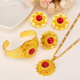Wholesale 14k Solid Ring - Ethiopian Jewelry Sets Pendant Chain Earrings Ring Bangle Ethiopia 14k Solid Gold GF CZ Bright red Africa Bride Wedding Set