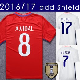 Wholesale Green Shipping - 2017 Chile Soccer Jersey 2016 17 Alexis Vidal Home Red Away White Football Shirt Jerseys With Shield Free Shipping