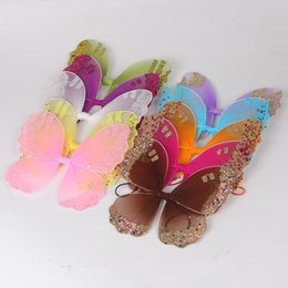 glitter butterflies Coupons - Halloween Fancy Dress Costume Girl Kids Glitter Angel Fairy Butterfly Wings photography props free shipping in stock