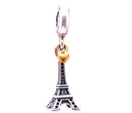 Wholesale Golden Spike Beads - Dangle Effel Tower with Golden Heart 100% 925 Sterling Silver Beads Fit Pandora Charms Bracelet Authentic DIY Fashion Jewelry