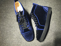Wholesale Velvet Box Price - Wholesale Price Luxury Men Velvet Leather Sneaker Flats With Spikes Casual Shoes Red Bottom Sneakers,Fashion Footwear Shoes With Box
