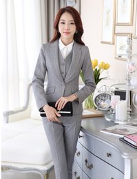 Wholesale Women Formal Suit Pants - Wholesale-Formal Uniform Style Pantsuits Ladies Office Business Women Work Suits With Blazers And Pants Female Trousers Clothing Sets
