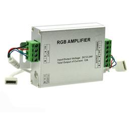 Wholesale Rgb Signal Light - Led RGB Amplifier Controller input12V 24V 12A 144Watt Signal Repeater Console Controll For 3528 5050 5730 RGB Strip Light
