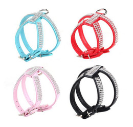 Wholesale Bling Dog Harnesses - Bling Rhinestone PU Leather Pet Puppy Small Dog Collar Harness Chihuahua Care Pet Shop Dog Acessorios Coleira Para Cachorr A