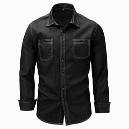 Wholesale Man Shirts Double Pockets - New Black Jeans Shirt Men 2017 Autumn Fashion Double Pocket Denim Shirt Casual Brand Slim Fit Shirts Chemise Homme Marque M-3XL