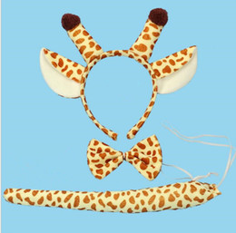 Wholesale Bow Ties For Children - Party Giraffe Animal Tail Ear Horn Headband Bow Tie Wedding for Children Adult Halloween Christmas