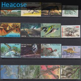 Wholesale Different Stamps - Wholesale-50 pieces Dinosaur all different postage stamps used brands label, selos marca carimbo franqueo marca matasellos collection