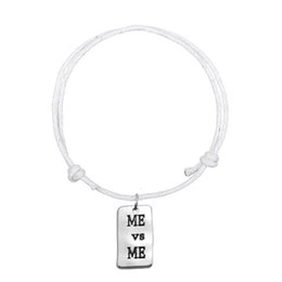 Wholesale Fitness Cords - Handmade Adjustable Wax Cord Bracelets Bangles Joint Silver Plated Me and Me Rectangle Fitness Charm Bracelet For Personalized Jewelry