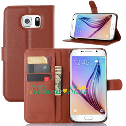Wholesale Plastic Card Holder Stands - For samsung galaxy S7 Plus Litchi Leather Wallet ID Credit Card Holder Stand Flip Case Cover 9 colors choose