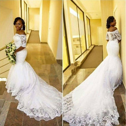 Wholesale Bridal Gowns South Africa - 2017 Tulle Lace Black Girl South Africa Mermaid Wedding Dresses Arabic Style Back Court Train Vestidos De Novia Robe De Mariage Bridal Gowns