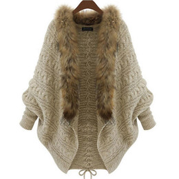 Wholesale Open Sweater For Women - Wholesale-Plus size 2016 Autumn Winter Women Long Sweaters open stitch solid Loose Warm Knitted Cardigans Casual Knitted Sweater for women