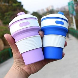 Wholesale Green Tea Portable Cups - Portable Collapsible Silicone Folding Retractable Mug Coffee Tea Cup Instant noodles cup For Hiking traveling with Heat Insulation Ring