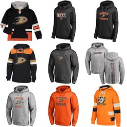 Wholesale Womens Orange Hoodies - Hot Sale Custom Mens Womens Kids Anaheim Ducks Cheap Best Quality Embroidery Black Grey Orange Ice Hockey Hoodies with Any Name&Any No.