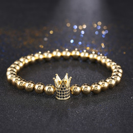 Wholesale Gold Plated Crown Charms - Hot Sale Metal CZ Zirconia 4 Clors King Crown Charm Bracelet Men Dull Polish Bead Bracelets For Women
