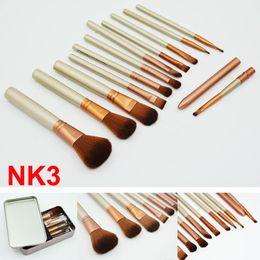 Wholesale Metal Shadow Box - Makeup Brushes face and eyes Brushes Kit 12 pieces Professional Makeup Brush set Kit With Iron Box cosmetics Brush Eye shadow brushes