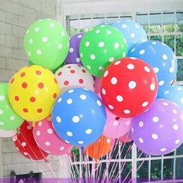 Wholesale Polka Dots Birthday - 50pcs 12 inch 3.2g Mixed colors Helium Inflatable Latex Balloons Polka Dot Pearl Birthday Wedding Festival Classic Toys