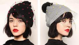 Wholesale Net Beanies - Fashion Women's Sexy Lady Elegant Knitted Beanie Hat Gauze Net Yarn Sphere Cap