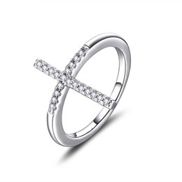Wholesale Small Silver Cross Sterling - Petite Small Solid 925 Sterling Silver Brilliant Cut Round White Diamond Stone Sideways Cross Ring Women Girls Ladies Cross Ring DL22020A