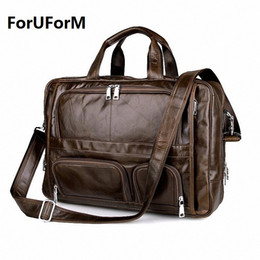 Wholesale Luxury Business Bags For Men - Wholesale- Luxury Genuine Leather Men's briefcases Business Bag Leather messenger bag shoulder bag For Men 17 inch laptop briefcase LI-897