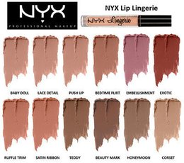 Цветная чарующая жидкость онлайн-2016 NYX lip lingerie liquid Matte Lip Cream Lipstick NYX Charming Long-lasting Brand Makeup Lipsticks Lip Gloss 12colors free shipping DHL