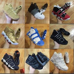 Wholesale Black Olympics - With box Newest More Uptempo SUPTEMPO Basketball Shoes OLYMPIC RELEASE Bulls Gold Varsity Maroon Black Mens Women Scottie Pippen Shoes