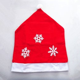 Wholesale Hat Accessories Order - New Style 50x65cm Snowflake Red Hat Christmas Dining Room Chair Cover Seat Back Cover Coat Home Party Decor Xmas Table Accessory 1 order
