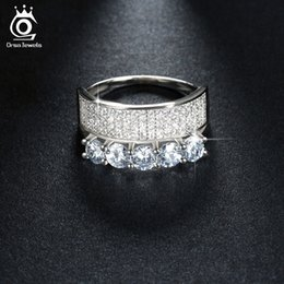 Wholesale Diamond Zircon Crystal Rings - Luxury White Gold Plated Silver Ring with 5 Piece 4 mm Simulated Diamond Micro Pave 4 Rows Brilliant Austrian Zircon OR112