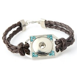 Wholesale Silver Tone Toggle Clasp - Fashion Braided PU Leather Snap Bracelets Jewelry Fit 18mm Snap Buttons Silver Tone with Rhinestones Charm Wrist band Wholesale SZ056