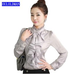 Wholesale Office Blouses Collars - 2017 Women Basic Body Shirt Blouse Ruffle Long Sleeve Lace Stand Collar Mandarin Fashion OL Korean Office Lady Work Brand Blusas