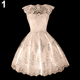 Wholesale Wholesales Dresses Prom Night - Wholesale- Girls' Retro Gothic Hollow Lace Waisted Cocktail Party Prom Flare Pouf Dress