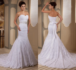 Wholesale Discount Bridal Gown Sashes - Discount Opulent Mermaid Lace Sweetheart Strapless Wedding Dresses Bridal Gowns Beaded Ruches Sashes Corset Designer Wedding Gowns