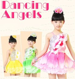 Wholesale Dresses Latin Children - 20pcs lot 2016 New Big Petals Sling Strapless Princess Dress Children Performance Clothing Latin Ballet Dancewear 3 color