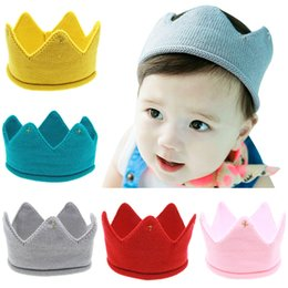 Wholesale Kids Summer Hats Sale - 2016 hot sale Baby Infant Knitted Crown Tiara Kids Infant Crochet Headband caps hats birthday party Photography props Beanie Bonnet