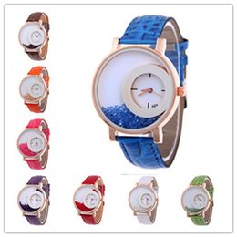 Wholesale Luxury Candy Bracelets - Luxury Geneva Faux leather Quicksand Wrist Watch fashion Band Bracelet Round Dial Analog Quartz Wristwatch Women Candy Casual watches