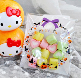 Wholesale Halloween Candy Cookies - Free shipping HALLOWEEN bow pumpkin decoration self adhesive bag candy bag cookie dessert packing bags party gift bag favors