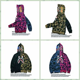 Wholesale Mouth Coat - The New Fashion A Bathing A Ape 2016 men's color printing thin sweater Bapes shark mouth couples dress coat Sup Hooded Hoodie Cheap Clothing