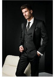 Wholesale Italian Suit 46 - 5 Pieces Slim Fit terno masculino Italian Style Suit Men Black Gangster Jacket Peak Lapel Trend 2016 Wedding Groom Custom Made